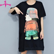 New Plus Size Women Tshirt Dress Summer Cotton Character Print Loose Dresses Fashion T Shirt Big Size Black And White 2 Colors