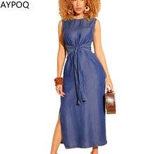 fcbaabc1aef AYPOQ Simple solide moulante Bandage Denim robe femmes Slim sans manches  haute Split dame été élégant