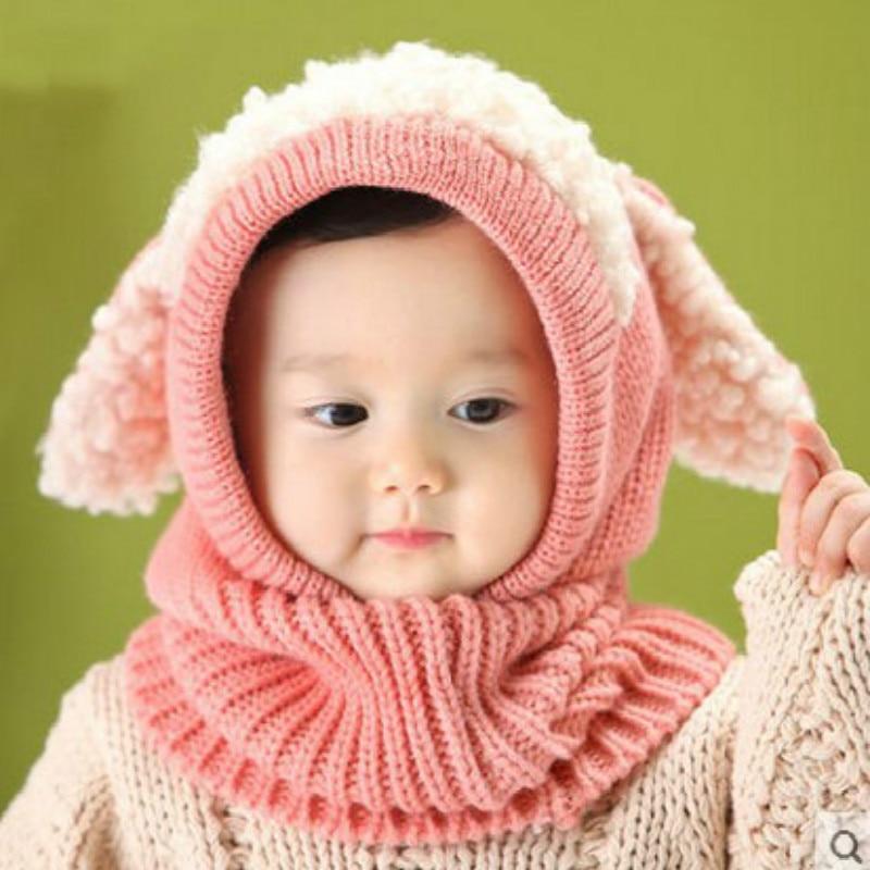 Baby Hats Cute Toddler Crochet Beanie Kids Girls Boys Hats Coif Hood Kintted Woolen Scarves Caps Winter Warm Cap Lamb Fur Hats