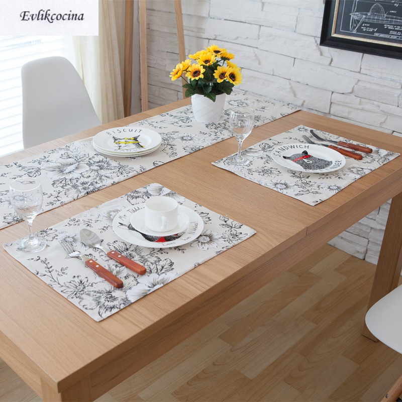 Free Shipping Black Flowers Placemat Dining Table Coaster Cloth Insulation Coffe Tea Cup ...