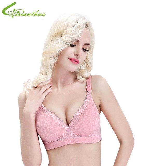 fb9b3c2f44088 Hot Sale Maternity Breast Feeding Nursing Bra 2017 New Summer Wireless  Front Buckle Women Underwear Cotton+Lacework 6 Color