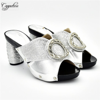 New coming silver African high heel pumps hot sale shoes with rhinestones for party 288-4, Heel height 9cm