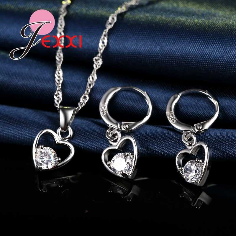 Luxus Braut Schmuck Sets Romanti Herz 925 Sterling Silber Ohrringe Anhänger Halskette Party Hochzeit Zubehör
