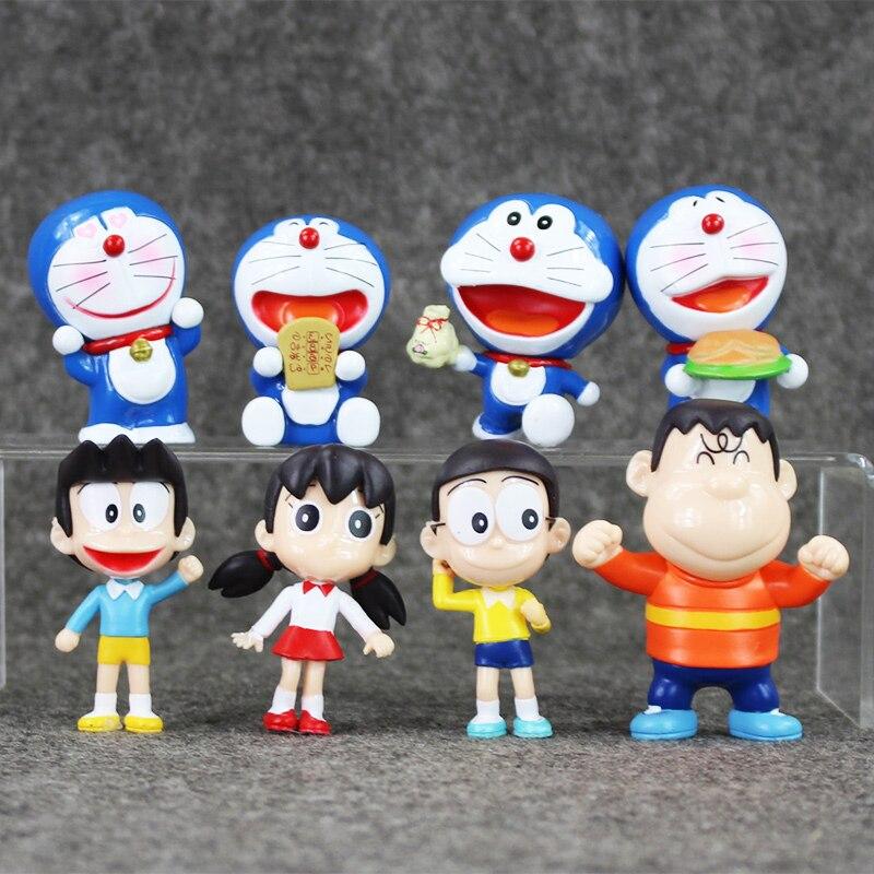 New 8pcs/lot Anime Doraemon Nobita Sizuka Takeshi Mini PVC action figure Model cute Toy Doll
