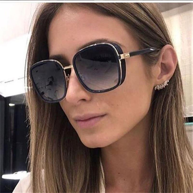 f92b7dd01db Women Thick Frame Fashion Square Sunglasses 2018 Designer Brand Clear Sun Glasses  Men Luxury New Black