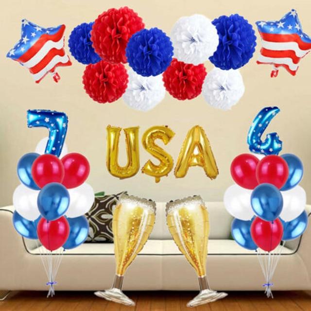 Carta Digital de filme Não É fácil de explodir balões decoração Do Partido balão de alumínio Conjunto Dia Da Independência Bandeira Patriótica W522