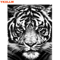 Animal DIY Painting By Numbers Tiger Lion Paint kits Oil Painting Number pictures On Canvas for Living room Oficce Decoration