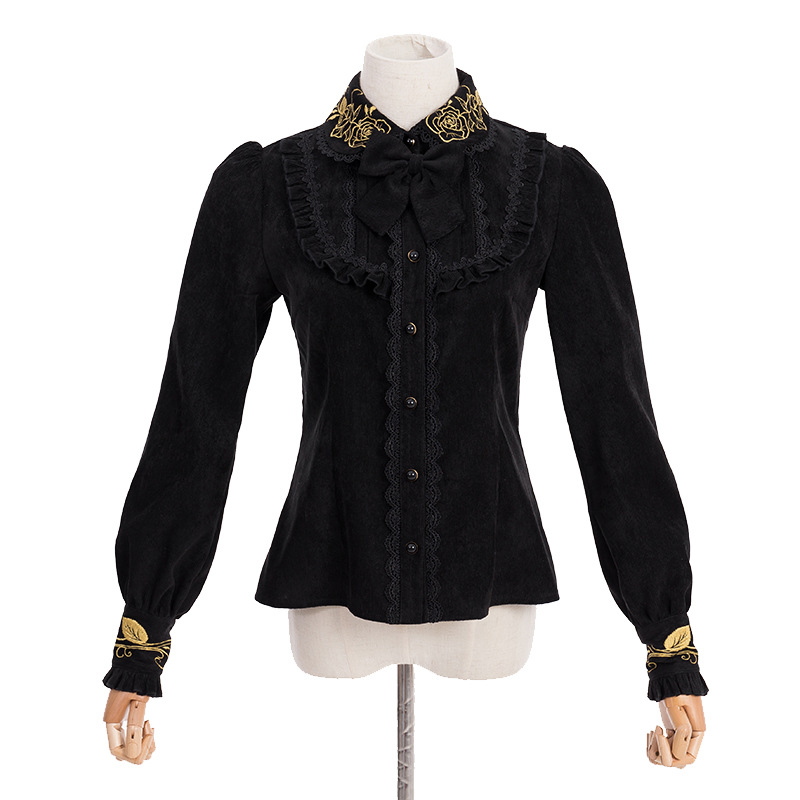 Automne et hiver nouveau Lolita rétro Court à manches longues épaississement chemise Lolita princesse velours côtelé chemise chaude Harajuku femmes chemise