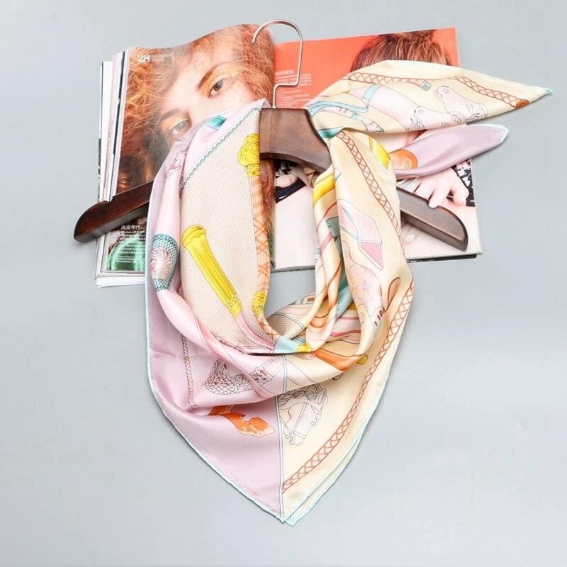 Fashion Print 100% Silk   Scarf     Wraps   Hijab Foulard Large Square Silk   Scarf   Shawl Women 88x88cm Quality Hand Rolled