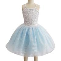 Profesyonel Açık Mavi Dans Kostümleri Kızlar Için Çocuk Kadınlar Maillot Bale Mujer Tutu Elbise Jimnastik Mayoları