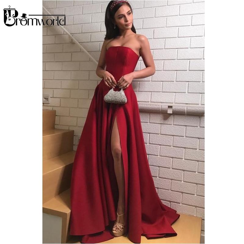 Burgundy Muslim Evening Dresses 2019 Strapless Satin Dark Red Prom Dresses with Slit Side A-Line Long Evening Gown abendkleider