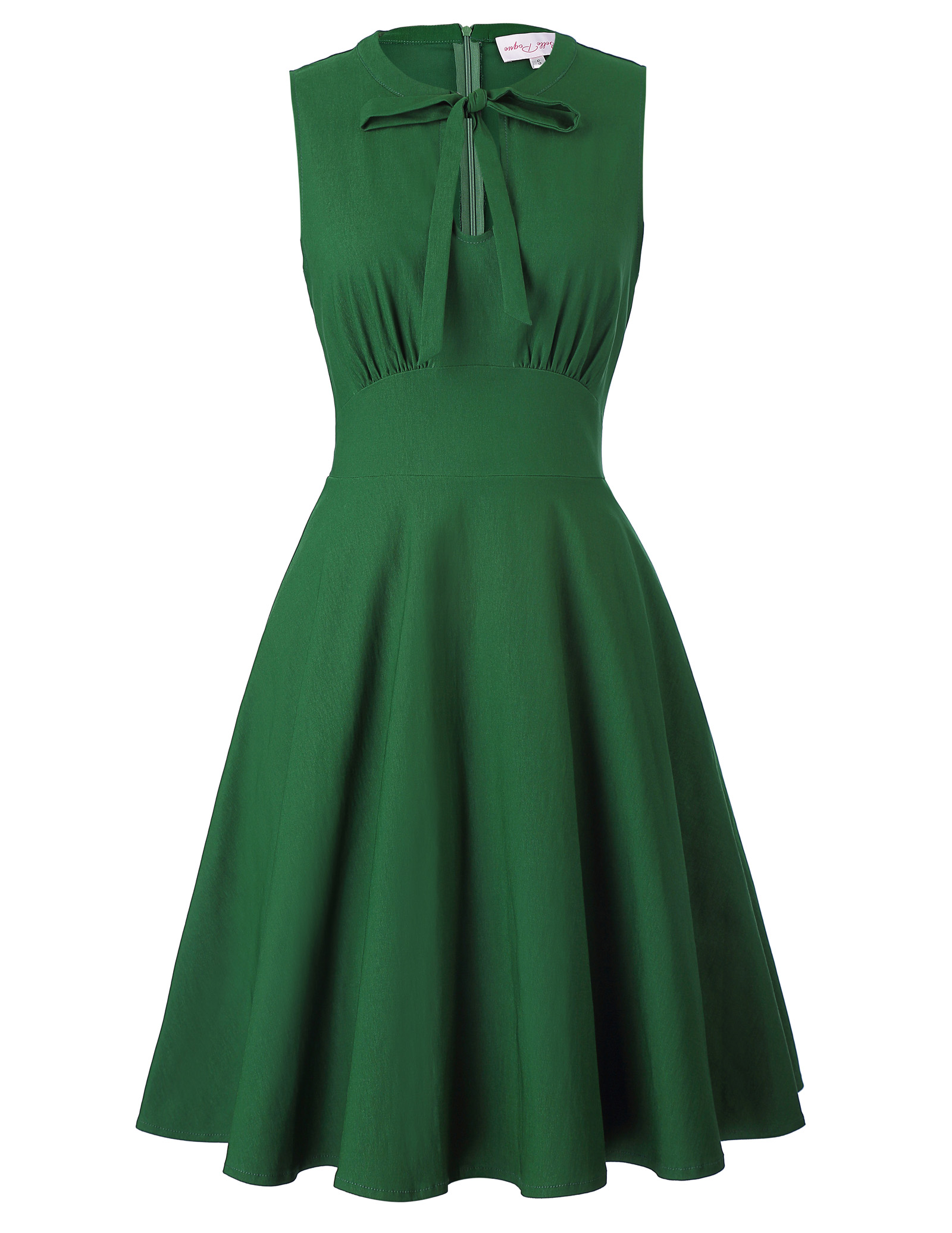 New Sleeveless Tied Neck Dress Elegant Knee Length High Stretch Dresses Women Solid Color Shirred Decor Party A Line Dress Green