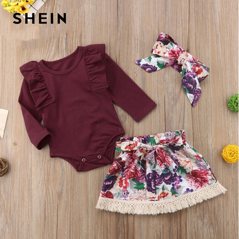 SHEIN Kiddie Toddler Girls Frill Trim Jumpsuit And Floral Print Skirt With Headband 2019 Spring Long Sleeve Casual Kids Sets floral print swing dress