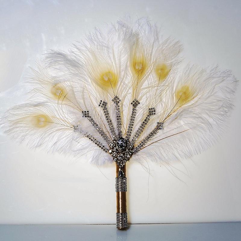 Vintage Bridal Feather Bouquet Decorative Fan Crystal Bridesmaid 20s Gatsby Wedding Bouquet Flapper Accessories