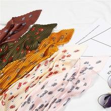 2019 Designer Women Silk Hair Neck Scarfs Square Pleated Scarf Hijab Female Animal Print Crinkle Scarves Foulard Lady Shawl
