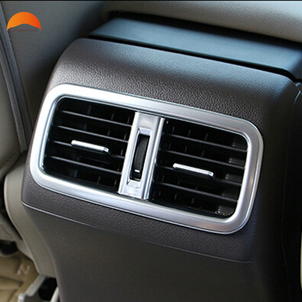 For Honda CRV CR-V 2012 2013 2014 2015 ABS Matte Interior Auto Accessories Rear Seat Air Condition Outlet Vent Frame Cover Trim 2pcs fit for 2012 2013 2014 2015 2016 honda crv cr v rear bumper protector cargo step panel cover sill plate trunk trim garnish