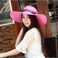 Новая Мода Высокое Качество Вс Шляпы Для Женщин С Строку Широкий Шляпы Флоппи Соломы Летний Пляж Hat Складная Chapeau Femme 1789