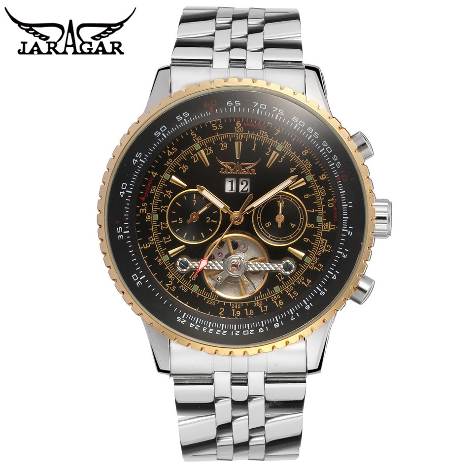 ФОТО 2017 JARAGAR Luxury AUTO Mens Multi Function Watch Black Mechanical Watch Wrist watch Free Ship