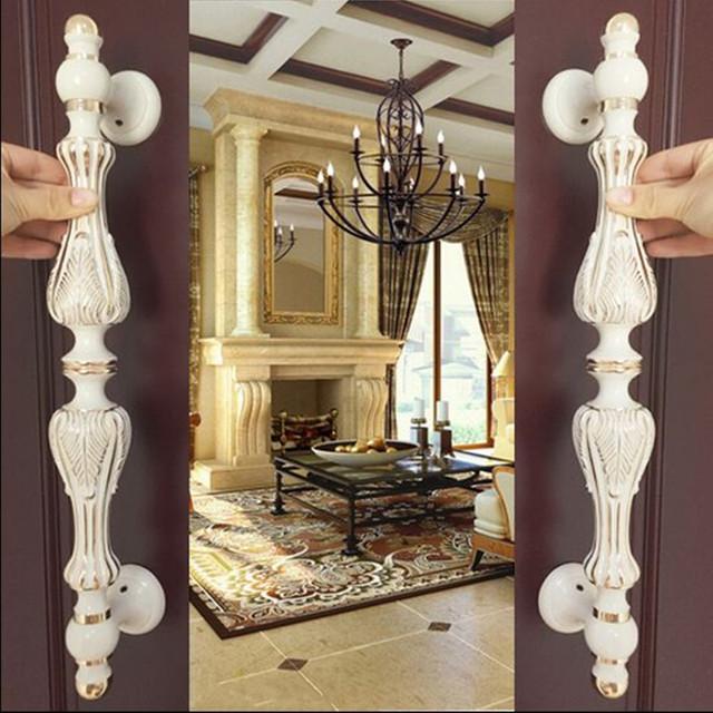 Top quality branco marfim grande portão punho casa ktv hotel puxadores das portas de vidro do escritório do vintage europa ouro branco madeira doorhandles