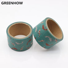 GREENHOW High Quality Fish Pattern Japanese Washi Decorative Adhesive Tape DIY Masking Paper Tape Label Sticker For Gift 9015