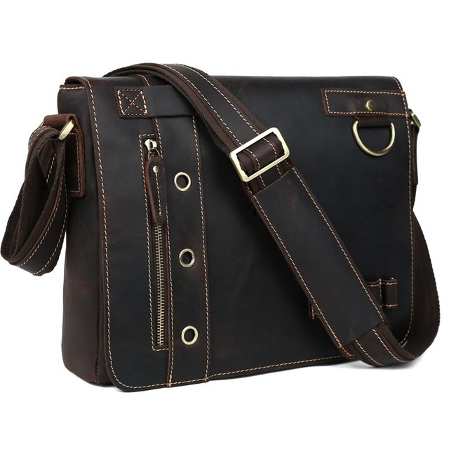dba6cb72fbb1 Vintage Genuine Leather Messenger Shoulder Bags Fashion Briefcase Mens  Casual 13
