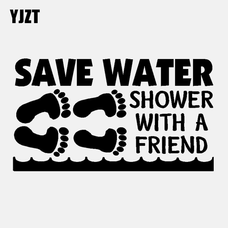 YJZT 14.2CM*7.7CM Funny Car-styling Save Water Shower With A Friend Vinyl Car Sticker Decal C11-2094