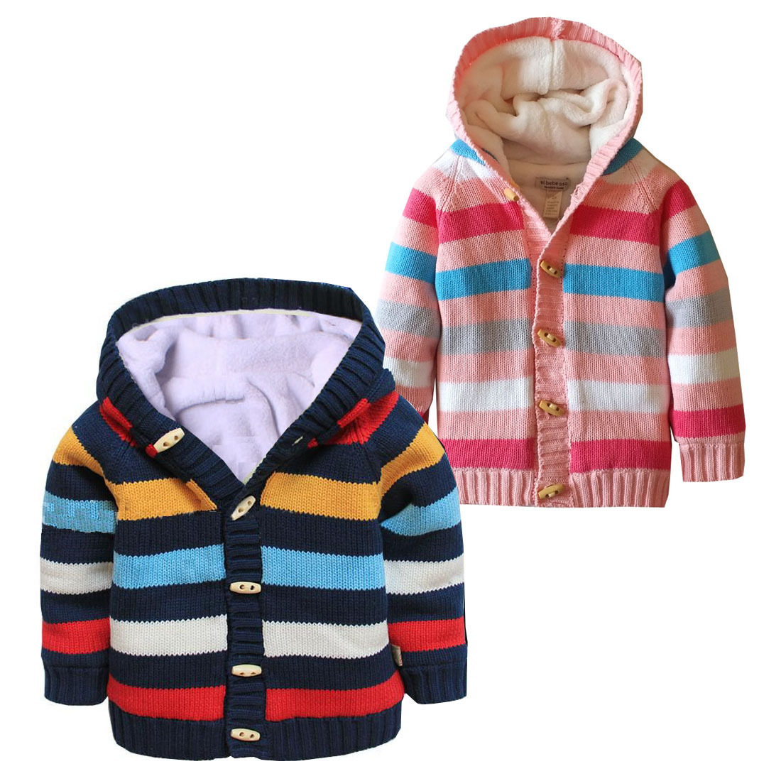 New 2017 Winter Kids Clothes Baby Girls Boys Hooded Knitted Sweater Jackets Children Plus Velvet Knitwear Cardigan Coat t100 children sweater winter wool girl child cartoon thick knitted girls cardigan warm sweater long sleeve toddler cardigan