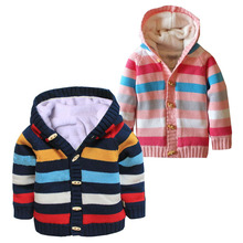 New 2017 Winter Kids Clothes Baby Girls Boys Hooded Knitted Sweater Jackets Children Plus Velvet Knitwear Cardigan Coat