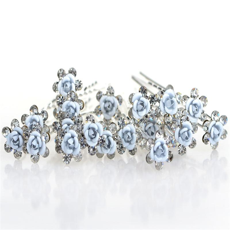 20pcs Beauty White roses hair Crystal Fork Hair Accessories Wedding Bridal  Flower Crystal Rhinestone Hair Pin 929f1d6b58db