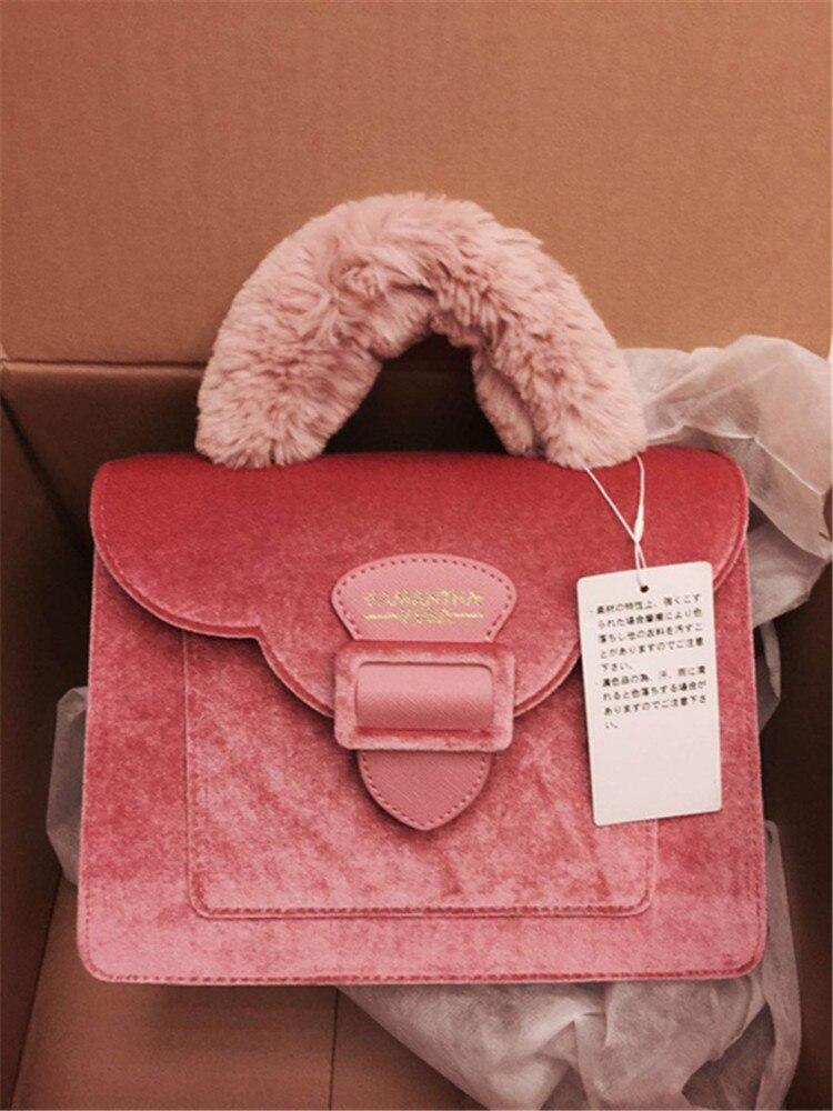 17 Christmas limited velvet suede handbag Samantha Vega plush handle organ shoulder bag Retro small flap square Messenger bag 5