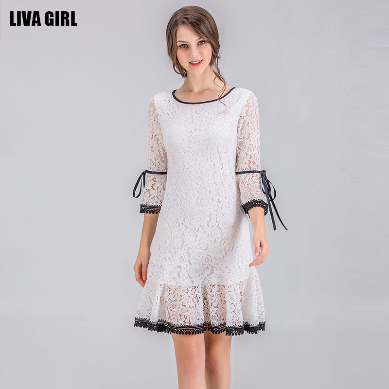 White Black Neck Large A Dress Lace Flare Waist Stitching Women Round Girl Bow Size Liva Sleeves Word And Pullover Loose YRU88q