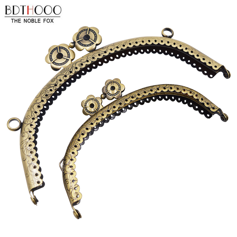 New 12.5cm /16.5cm Metal Purse Frame For Women Shoulder Bag Handles Clasp Purse DIY Copper Clutch Accessories