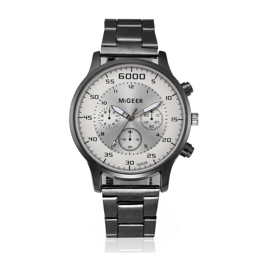 2017 New  Fashion Men Crystal Stainless Steel Analog Quartz Wrist Watch Bracelet L11731018