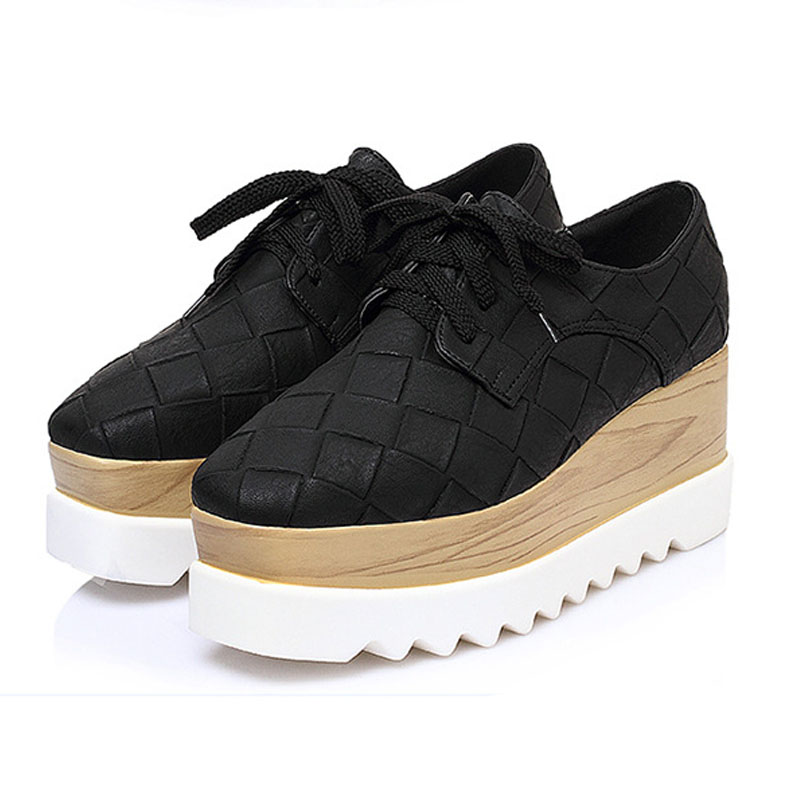 New Classic Plaid Women's Platform Shoes Woman Brogue Patent Leather Flats Lace Up Footwear Female Flat Oxford Shoes For Women women platform flats shoes patent leather sneakers lace up female mesh footwear shoes for women sports