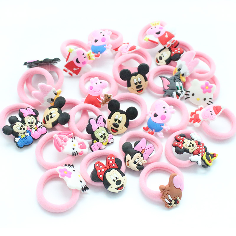 10pcs lot fashion kids rubber headbands soft fabric for Children s character fabric