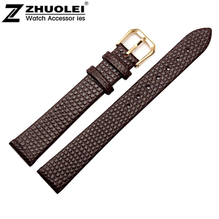 10mm 12mm 14mm 16mm 18mm 20mm High Quality Small Size Lady Brown Genuine Leather Watch Band Strap Bracelet With Gold Pin Buckle watch band12mm 14mm 16mm 18mm 20mm lizard pattern black genuine leather watch bands strap bracelets silver pin watch buckle