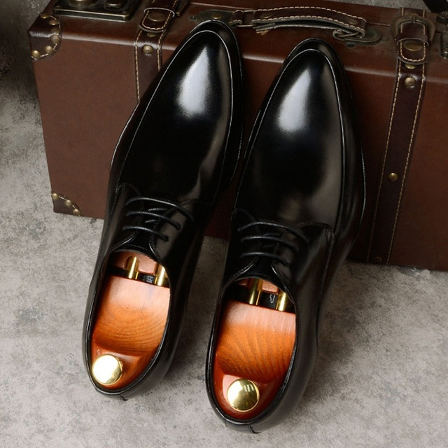 Classic Man Formal Dress Derby Office Shoes Genuine Leather Handmade Wedding Party Flats Round Toe Men's Basic Footwear SS367