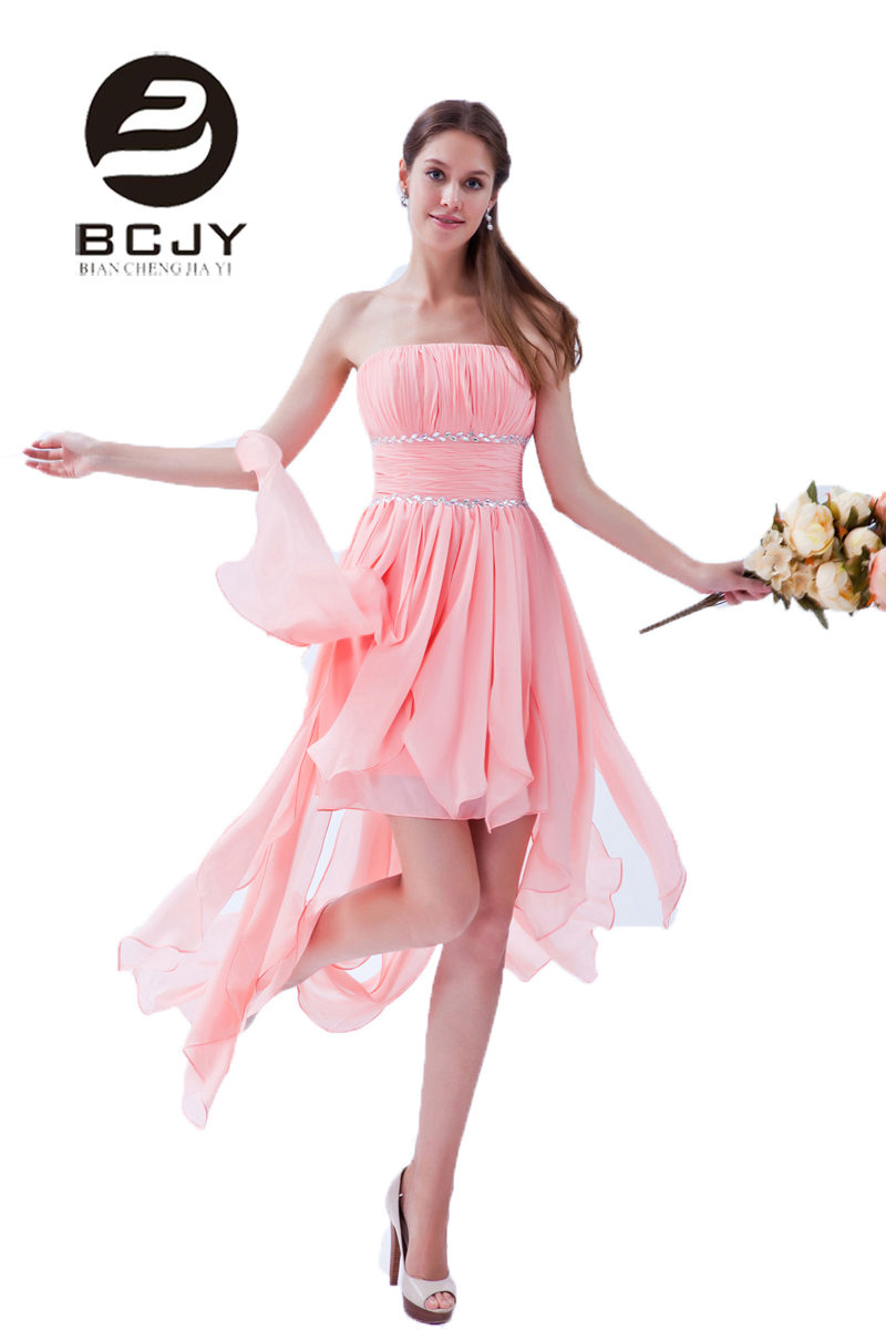 Real Photos 2019 Sweety Short Bridesmaid Dresses Strapless Hi-Lo Asymmetrical Chiffion Pink Crystal  Prom Gown vestido de noiva