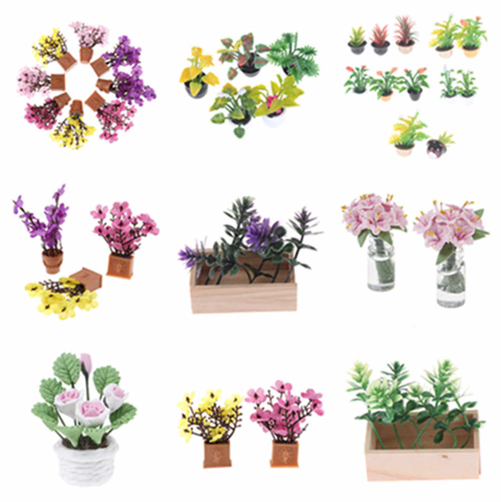 1/2PCS Artificial Fake Mini Dollhouse Miniature Green Plant Flower in Pot Doll Houses Fairy Garden Accessory