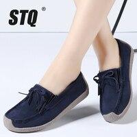 STQ 2016 Autumn Women Flats Leather Suede Slip On Tassels Shoes Ballet Flats Cowhide Flexible Boat