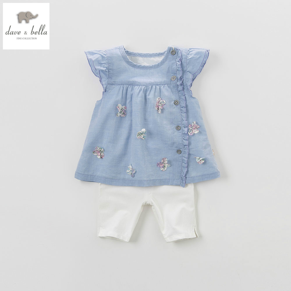 DB4363 dave bella summer baby girls blue clothing sets children lovely sets toddle cloth kids sets baby fancy clothes