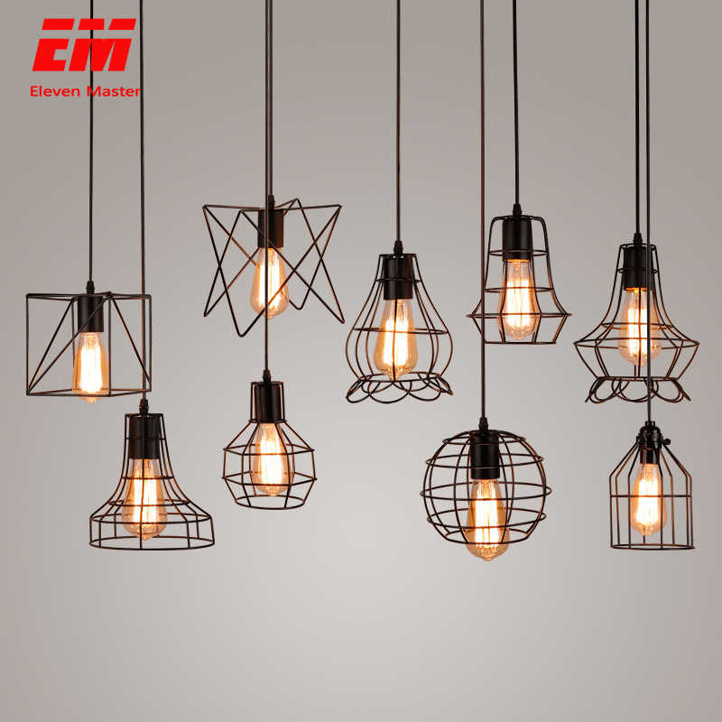 modern cage pendant light iron minimalist retro Scandinavian loft pyramid pendant lamp metal Hanging Lamp E27 Indoor ZDD0011