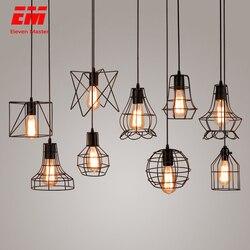 Gaiola moderna luz pingente de ferro minimalista retro escandinavo loft pirâmide pingente lâmpada metal pendurado lâmpada e27 interior zdd0011