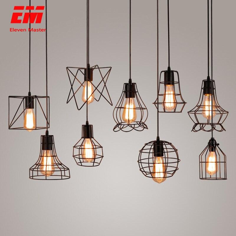 Modern Cage Pendant Light Iron Minimalist Retro Scandinavian Loft Pyramid Pendant Lamp Metal Hanging Lamp E27 Indoor ZDD0011