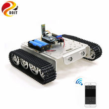 T200 Handle/Bluetooth/WiFi RC Control Robot Tank Chassis Car Kit For Arduino With UNO R3, 4 Road Motor Driver Board, WiFi Module(China)
