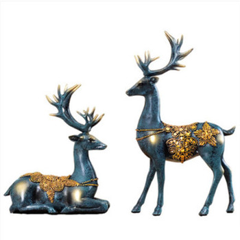 European Style Classical Lovers Deer Resin Craftwork Figurines Creative Home TV Bench Ornaments Valentine's Day Gift X1479