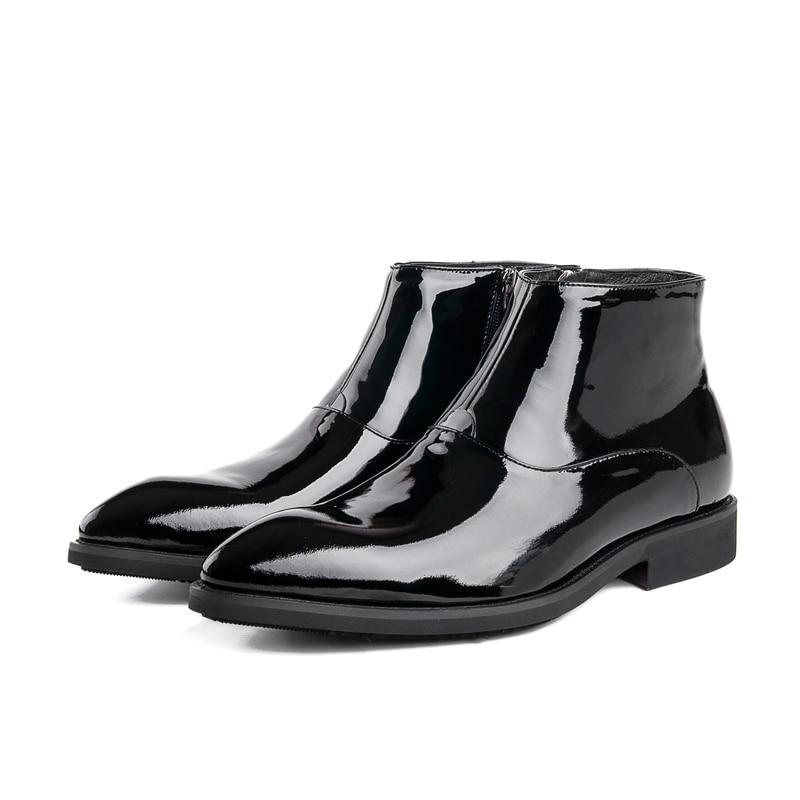 2017 Men's Patent Leather Boots Elastic