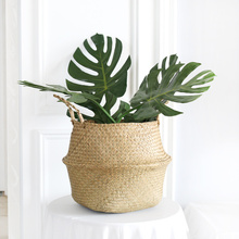 Handmade Storage Basket Sea Grass Rattan Laundry Basket For Clothes Toy Sundries