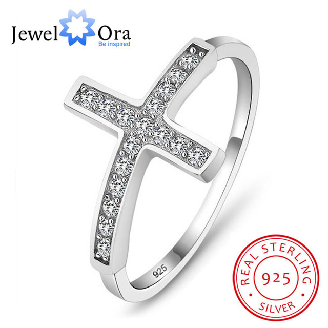 100% Guarantee 925 Sterling Silver Charms Rings For Women Fashion Jewelry CZ Cross Ring Sterling Silver (Jewelora RI101135)
