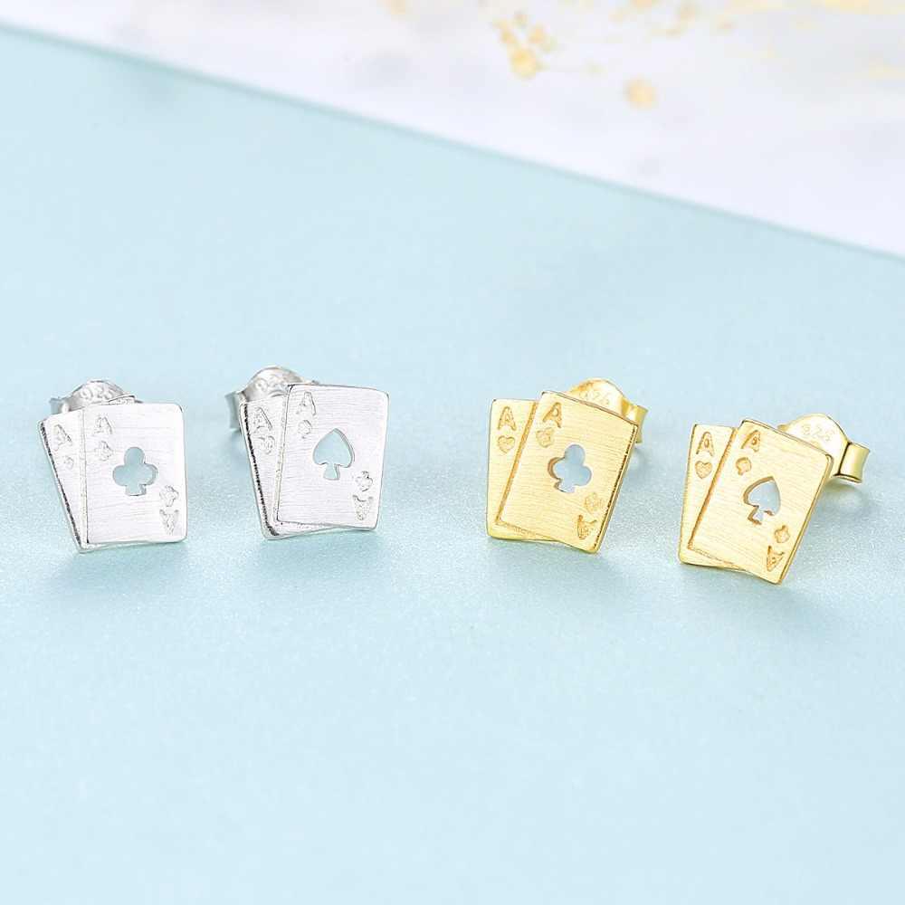 LUOTEEMI 2018 New Fashion 925 Sterling Silver Simple Korean Hollow Design Asymmetric Poker Stud Earrings For Women Gift